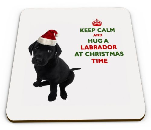 Christmas Keep Calm And Hug A Labrador (Black) Novelty Glossy Mug Coaster